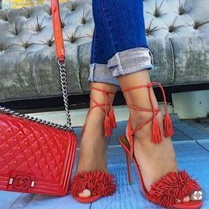 AQUAZZURA Wild Thing Red Suede Heels 36